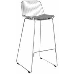 Krzesło barowe Dill High szare z szarą poduszką - 75 \ szary