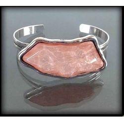 Oryginalna bransoleta z dużym łososiowym kamieniem - łososiowy