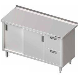 Stół przyścienny z blokiem dwóch szuflad po prawej stronie i szafką z drzwiami suwanymi 1400x700x850 mm | STALGAST, 980357140
