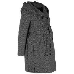 Krótki płaszcz ciążowy z domieszką wełny bonprix czarno-biel wełny melanż