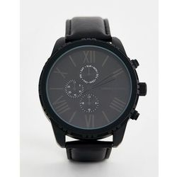 ASOS DESIGN watch in monochrome with roman numerals and sub dials - Black