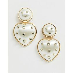 ASOS DESIGN vintage style earrings with pearl heart drop in gold tone - Gold