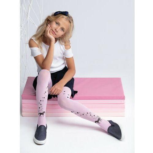 Rajstopy dziecięce, Rajstopy mikrofibra 20DEN pudrowy róż dziewczęce pegaz 140-146