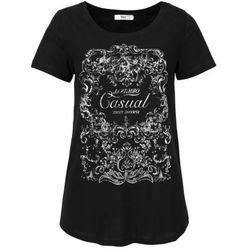 Shirt, krótki rękaw bonprix czarny z nadrukiem