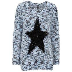 Sweter z dzianiny z długim włosem, z cekinami bonprix jasnoniebiesko-czarny melanż