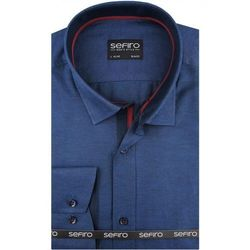 Koszula Męska Sefiro gładka granatowa melanż SLIM FIT na spinki lub guzik A120