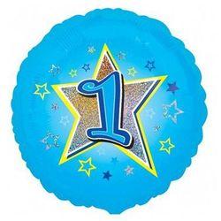 Balon foliowy niebieski gwiazda z jedynką na roczek - 47 cm