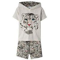 Spódniczki dziecięce, Shirt z kapturem + spódnico-spodnie (2 części) bonprix naturalny melanż