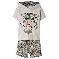 Shirt z kapturem + spódnico-spodnie (2 części) bonprix naturalny melanż