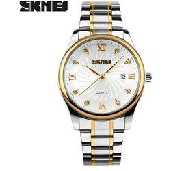 Zegarek męski SKMEI 9101 bransoleta złoty biały