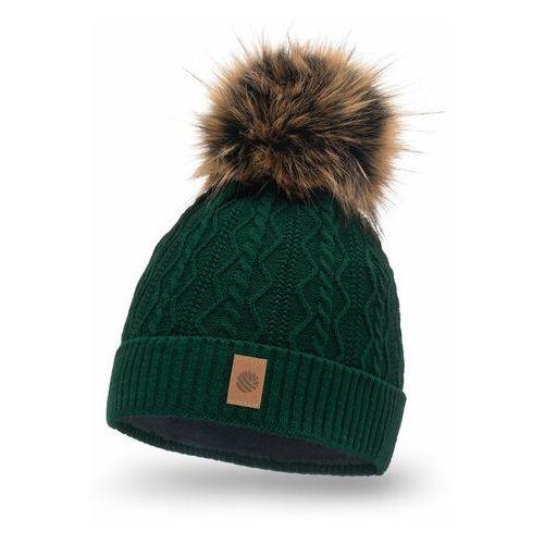 Nakrycia głowy i czapki, Zimowa czapka damska z polarem PaMaMi - Butelkowa zieleń