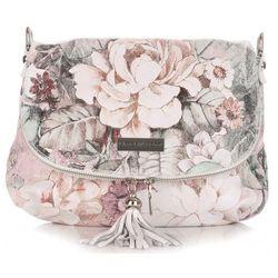 Torebka Listonoszka Skórzana firmy Vittoria Gotti w Kwiaty Multikolor Biała (kolory)