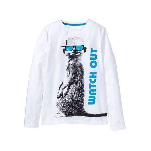 Bluzki dla dzieci, Shirt z długim rękawem i nadrukiem bonprix biały