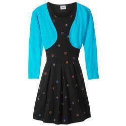 Sukienka + bolerko (2 części) bonprix turkusowo-czarny