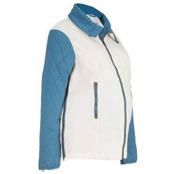 Bluza ciążowa rozpinana z mikropolaru, z watowanymi rękawami bonprix biel wełny - niebieski dżins