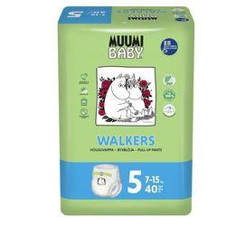 MUUMI Baby Walkers Pieluchy 5 Maxi+ 40szt pieluchomajtki hipoalergiczne i ekologiczne (7-15kg)