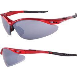 Okulary SHADOW czerwone metalizowane 3 pary soczewek - Czerwony ||Czarny
