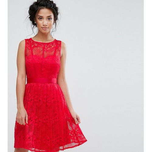 Spódnice, Little Mistress Petite Lace Skater Dress With Pleated Skirt - Red