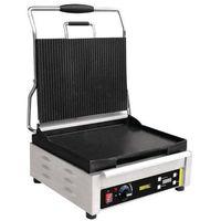 Grille gastronomiczne, Grill kontaktowy żeliwny pojedyńczy ryflowany/gładki | 360x280mm | 2200W