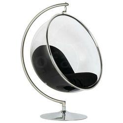 Fotel BUBBLE STAND poduszka czarna - podstawa chrom, korpus akryl, poduszka wełna