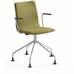 Krzesło konferencyjne OTTAWA, nogi pająka, podłokietniki, oliwkowa tkanina, szary
