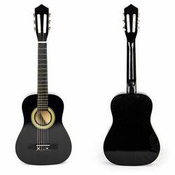 Gitara dla dzieci, duża, drewniana, 6 strun, czarna