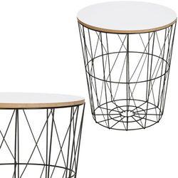 Stolik kawowy loft, kosz metalowy industrialny 35 cm czarny, biały blat