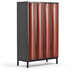 Metalowa szafa ubraniowa CURVE, na nóżkach, 4x1 drzwi, 1940x1200x550 mm, czerwony