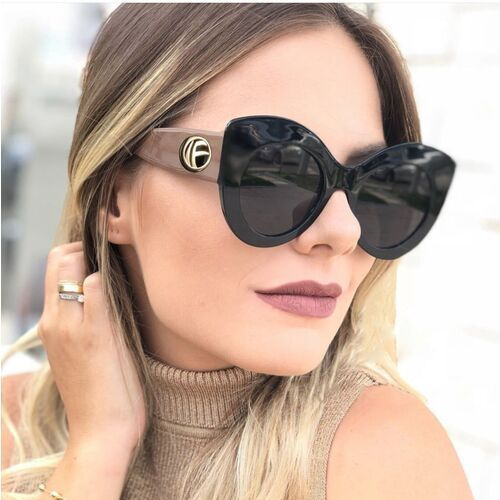 Okulary przeciwsłoneczne, Okulary przeciwsłoneczne damskie czarne kocie oko