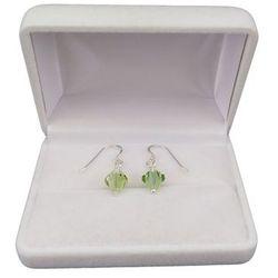 Kolczyki srebrne regularne zielone kryształy o długości 2,5 cm SKK04