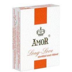 Prezerwatywy z opóźniaczem i wypustkami Amor Long-Love Studded and Ribbed 3 szt. 709114