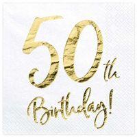 """Serwetki, Serwetki """"50th Birthday - złote urodziny"""", PartyDeco, białe, 33 cm, 20 szt"""