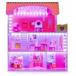 Drewniany domek dla lalek z oświetleniem LED, zestaw mebelków w zestawie darmowa dostawa