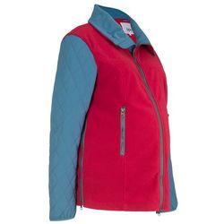 Bluza ciążowa rozpinana z mikropolaru, z watowanymi rękawami bonprix ciemnoczerwono-niebieski dżins