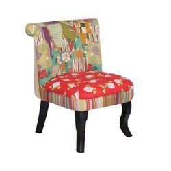 Niski fotelik MELOSIA - Tkanina patchworkowa w kolorach czerwieni i zieleni