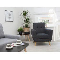 Fotel wypoczynkowy szary do salonu tapicerowany - HERNING