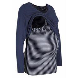 Shirt dwuwarstwowy ciążowy i do karmienia piersią bonprix biało-ciemnoniebieski w paski