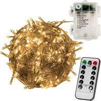 Ozdoby świąteczne, LAMPKI CHOINKOWE 100 DIOD LED NA BATERIE + PILOT - Ciepła biel