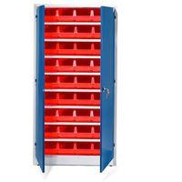 Szafki warsztatowe, Szafa warsztatowa z pojemnikami, 36 czerwonych pojemników, 1900x1000x400 mm