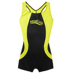 Kostium kąpielowy dziewczęcy bonprix czarno-żółty neonowy
