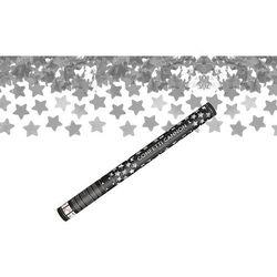 Tuba strzelająca - srebrne gwiazdki metaliczne - 60 cm - 1 szt.