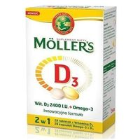 Witaminy i minerały, Mollers D3 2400 I.U.+ Omega 3 x 28 kapsułek + 28 tabletek