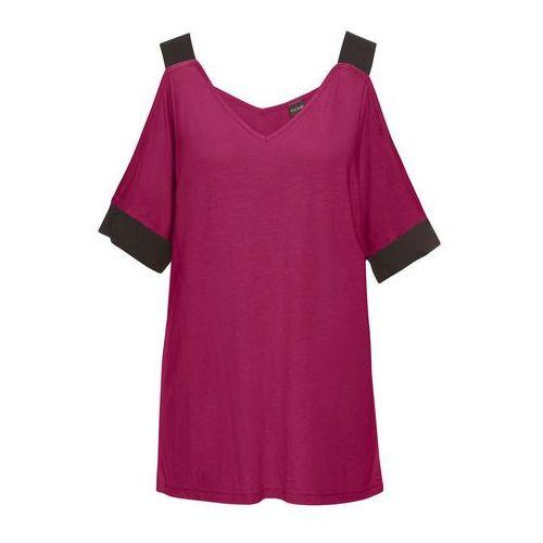 Bluzki, Shirt z wycięciami bonprix jeżynowo-czarny