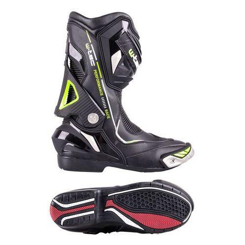 Buty motocyklowe, Skórzane buty motocyklowe W-TEC Hernot W-3015, Czarny-fluo żółty, 47