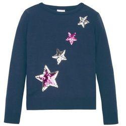 Sweter dziewczęcy dzianinowy z cekinami bonprix ciemnoniebieski