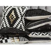 Poduszki, Poduszka dekoracyjna geometryczne wzory bawełniana czarna/złota 45 x 45 cm