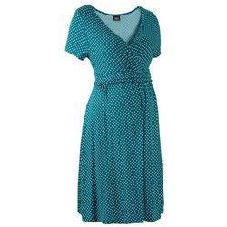Sukienka ciążowa i do karmienia, shirtowa, krótki rękaw bonprix niebieskozielony - morski pastelowy w kropki