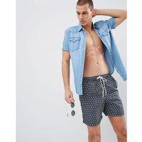 Kąpielówki, Selected Homme Floral Print Swim Shorts - Navy