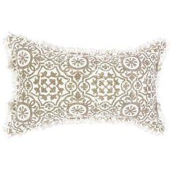 Poduszka dekoracyjna o wymiarach 30 x 50 cm, z orientalnym wzorem, frędzelki, idealna do każdego wnętrz, kolor biało-beżowy