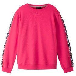 Bluza z wstawką z cekinami bonprix różowy hibiskus